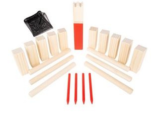 Hey Play Kubb Viking Chess Game Wood Outdoor lawn Game Set Combines Bowling and Horse Shoes