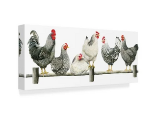 Janet Pidoux Hens  White Background Canvas