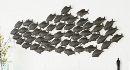 Coastal 20 x 53 Inch School Of Fish Metal