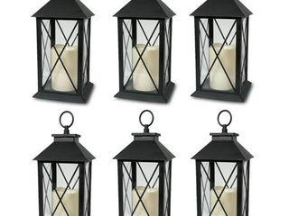 Black   6 Decorative lanterns Diamond Design with lED Flameless Flickering Candle