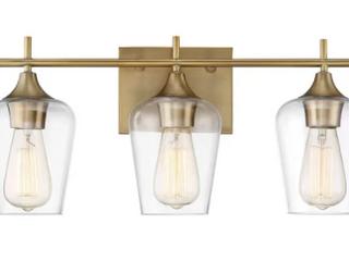 Carbon loft Brenner Warm Brass Metal Glass 3 light Bath Bar  Retail 115 19