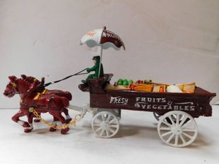 Diecast Metal   2 Horses   Vegetable Cart