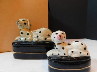 Dalmatian Dog Trinket Boxes  pair