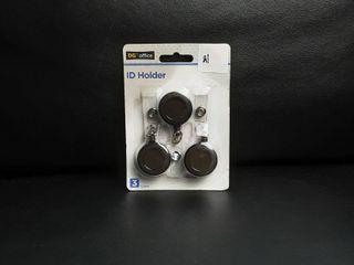 Retractable Id Card Holder Reel Badge Key Tag Clip Black   3 Pack