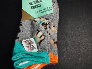 6 Pack Girls Verbiage Socks Sz  9 3 5