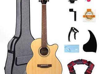 Professional Acoustic Guitar 38 inch Spruce Cutaway Folk Guitarra Bundle With Beginners Kit  Gig Bag Tuner Strap Picks Strings Pickguard Guitar Capo String Winder