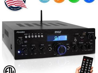 Pyle PDA6BU 200 watt Bluetooth  FM Radio  USB  SD Card  AUX Stereo Amplifier Receiver with Microphone Inputs  Retail 82 99