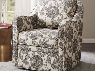 Madison Park Betty Slub Weave Wide Seat Swivel Arm Chair