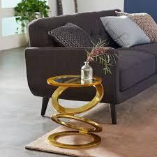 Eclectic Gold Plated Aluminum Cast End Table