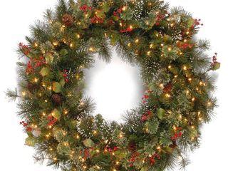 Wintry Pine Wreath w  Clear lights