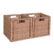 Noble Connect Foldable Wicker Storage Baskets   Set of 2