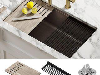 KRAUS Bellucci Brown Granite Composite Single Bowl Undermount Workstation Kitchen Sink w  Accessories