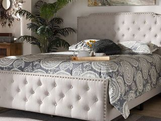Baxton Studio Full Marion Fabric Upholstered Button Tufted Panel Bed   Full