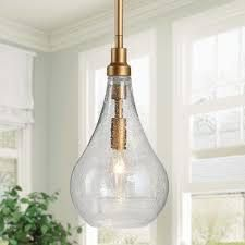Modern   Contemporary 1 light Pendant Hanging Ceiling Rods lighting Fixture Gold w  Seeded Glass Shade