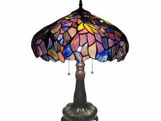 Tiffany Style Floral Design 2 light Antique Bronze Table lamp