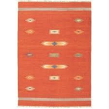 ECARPETGAllERY Flat Weave Bold   Colorful Red Wool Kilim