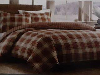 Eddie Bauer Red Plaid Cotton Duvet Set   King