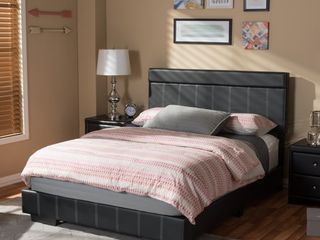 Faux leather Wood Modern   Contemporary Platform Bed by Baxton Studio   Full
