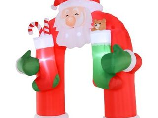 Santa Claus Christmas Inflatable Archway Holiday w  lED Decoration