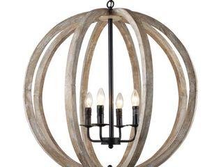 Neutral Capoli 4 light Wooden Orb Chandelier