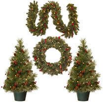 Promotional 4 Piece Christmas Decoration Set w  Battery Operated lED lights
