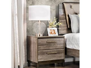Furniture of America Fika Contemporary Solid Wood 2 Drawer Nightstand