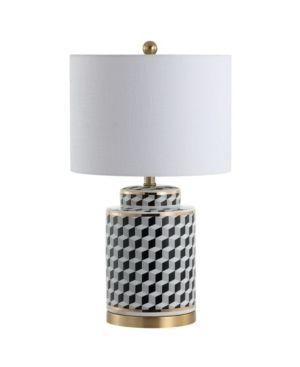 Ellie Tumbling Block Ceramic Metal lED Table lamp by JONATHAN Y