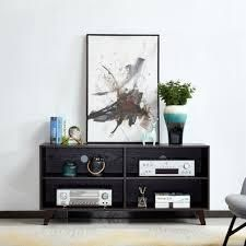 Transitional Wooden TV Stand w  4 Open Shelves