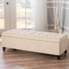 Mission Tufted Fabric Storage Ottoman Bench