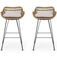 Wicker Barstools w  Cushions By Christopher Knight Home   Set of 2