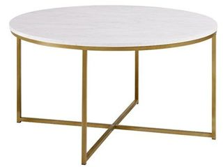 Walker Edison Modern Round White Faux Marble Coffee Table