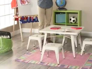 Classic playtime Square metal stools white set of 2