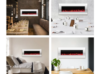 Glossy White lockport Pearl Wall Mounted Electric Fireplace   Retail  429 99