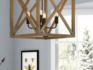 William 4   light lantern Square   Rectangle Chandelier with Wood
