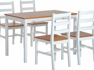 Natural White Yedinak 5 Piece Solid Wood Dining Set