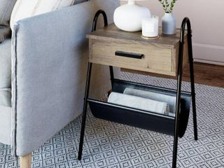 Nathan James Hugo Nightstand Accent Table Rustic Gray Oak Wood Table with Drawer Black Metal Frame leather Hammock