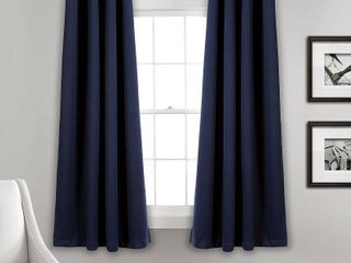 Set of 2  84 x52  Insulated Grommet Top Blackout Curtain Panels Navy   lush DAccor
