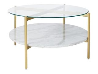Signature Design by Ashley Wynora White Gold Round Cocktail Table   Retail  229 99