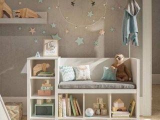 Ameriwood Home   Torney Kid Toys Storage Bench and Coat Rack   BlONDE OAK