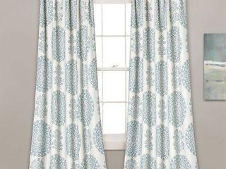 Evelyn Medallion Room Darkening Window Curtain Blue Set 52x84 2
