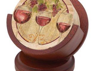 Thirstystone Pedestal Drink Coasters Holder  Cherry
