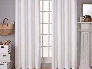 Set of 2 84 x52  Sateen Twill Weave Insulated Blackout Grommet Top Window Curtain Panels White Solid   Exclusive Home