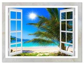 Blue Green Window Open to Beach with Palm   Print   Wrapped Canvas 16x32x1