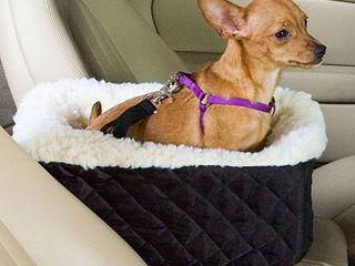 Snoozer Console Pet Car Seat Cream Fur  Small  Black
