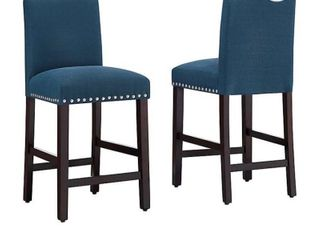 Dwell HomeAr Polyester Upholstered Madrid 24 5  Bar Stool in Azure