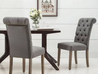 Jocelyn Roll Top Tufted Upholstered Side Chair  Set of 4    Gray