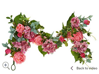 4  Hydrangea Peony and Tulip Floral Garland by Valerie   Pink
