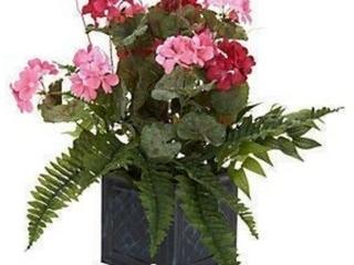 25a Pink Geranium Berries Fern Faux Flower Plant Metal Pot Valerie Parr Hill