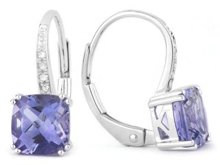 14k White Gold Dangling Earrings with 1 63ct Cushion Purple Iolite and 0 03ct Round White Diamonds  Retail 416 99
