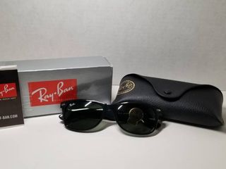 Ray Ban New Wayfarer Classic RB 2132 Unisex Black Frame Green Classic lens Sunglasses  Retail 122 99
